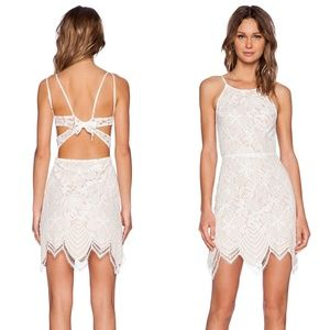 For Love and Lemons Guava Mini Lace Tie Back Dress